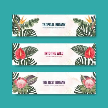Banner template with tropical botany concept, watercolor style