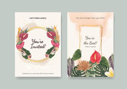 Card template with tropical botany concept, watercolor style