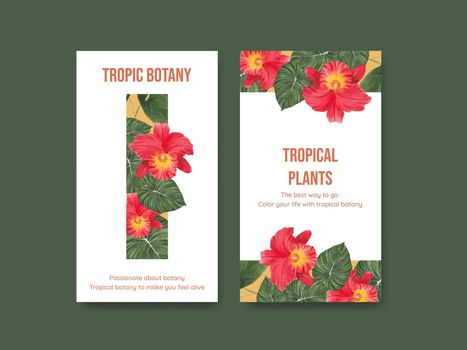 Instagram template with tropical botany concept, watercolor style