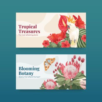 Twitter template with tropical botany concept, watercolor style