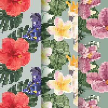 Pattern seamless with tropical botany concept, watercolor style