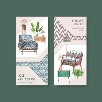 Flyer template with ikat concept,watercolor style