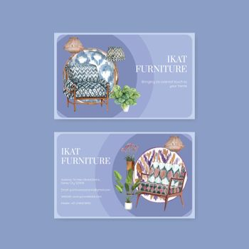Name card template with ikat concept,watercolor style