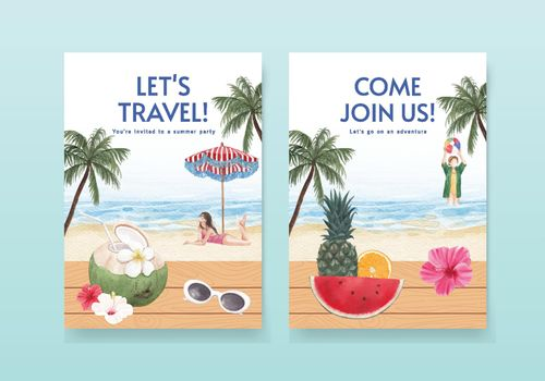 Card template with summer vibes concept,watercolor style