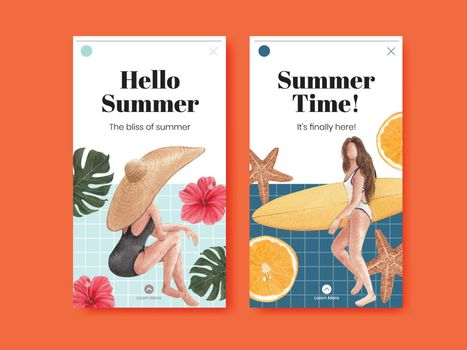 Instagram template with summer vibes concept,watercolor style