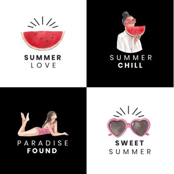 Logo with summer vibes concept,watercolor style