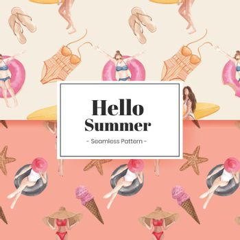 Pattern seamless with summer vibes concept,watercolor style