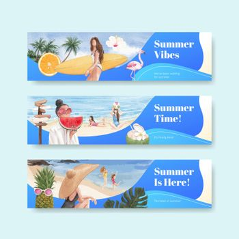 Banner template with summer vibes concept,watercolor style
