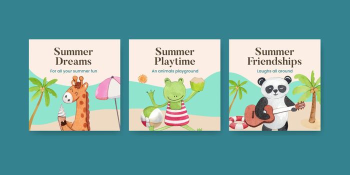 Banner template with animals summer concept,watercolor style