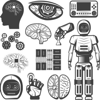 Vintage Artificial Intelligence Icons Set