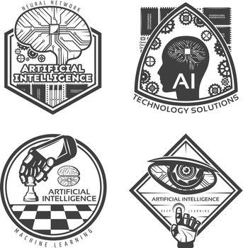 Vintage Artificial Intelligence Emblems Set