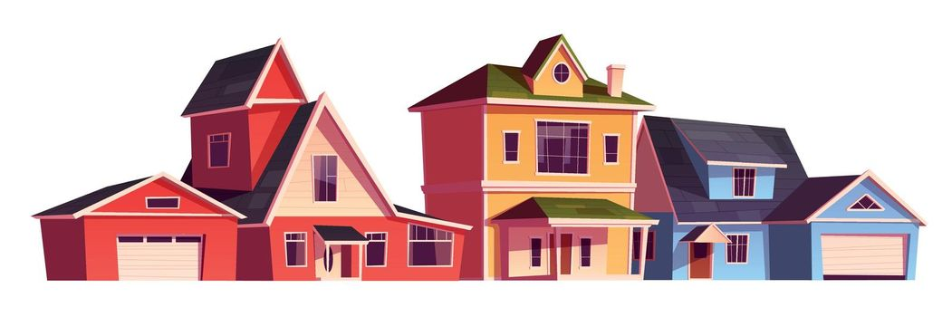 Suburb houses, residential cottages, real estate