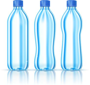 Water bottles on white