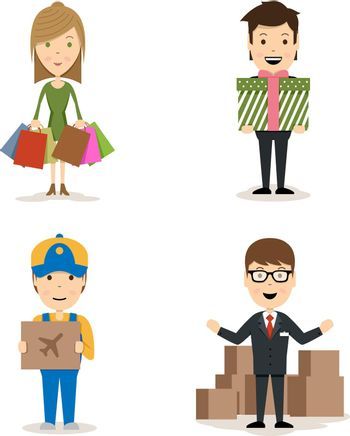 People shopping vector characters