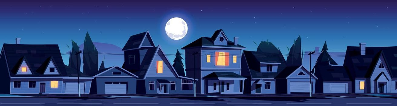 Street in suburb district with houses at night