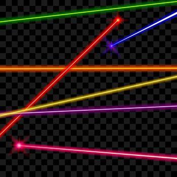 Vector laser beams on transparent plaid background