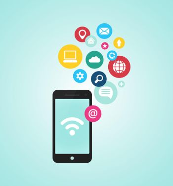 smartphone device with applications (app) icons