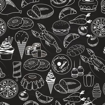 Vector Seamless Food on Chalkboard Background
