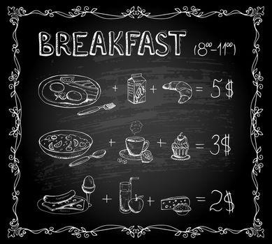 Breakfast chalkboard menu