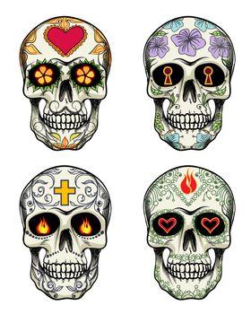 Skulls with flowers