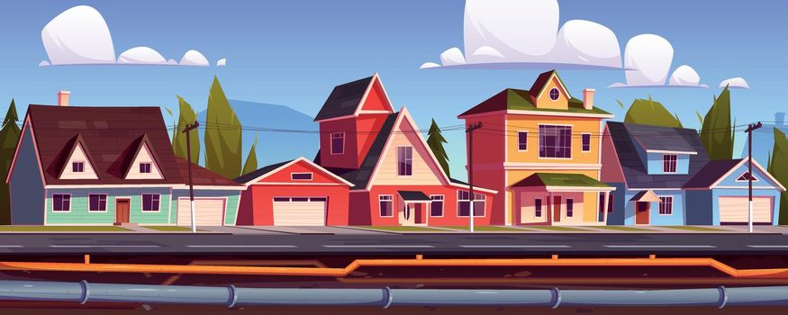 Suburb houses and underground pipeline