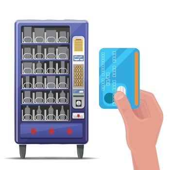 Vending machine and hand with credit card. Vector illustration