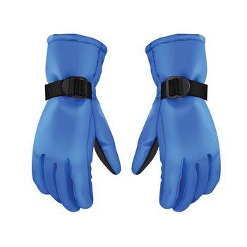Blue winter gloves