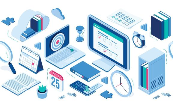 Isometric icons infographics elements for web site