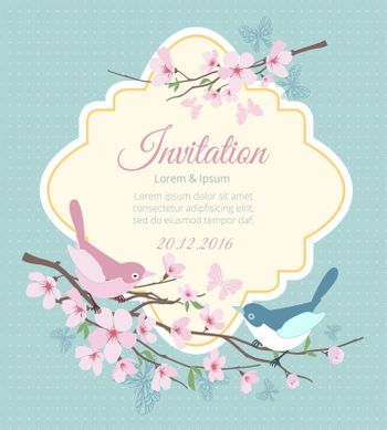 Wedding invitation with birds and flowering branches