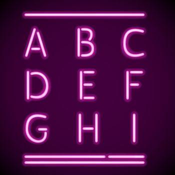 Realistic Neon Alphabet 1