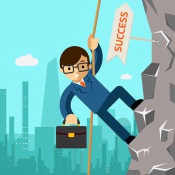 Way to success. Businessman aspires to leadership