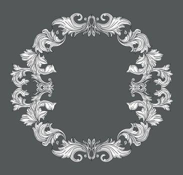 Vintage baroque frame border with leaf scroll floral ornament in line style