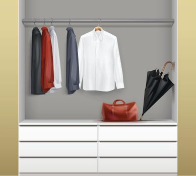 Open white wardrobe
