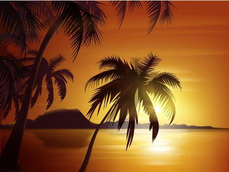 Orange tropical sunset