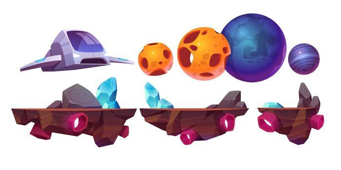 Space game platform, cartoon arcade elements set