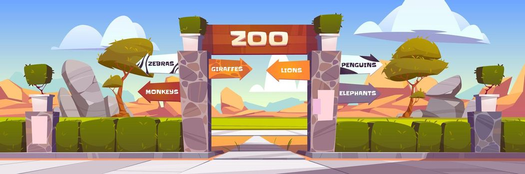 Zoo gates with pointers to wild animals cages