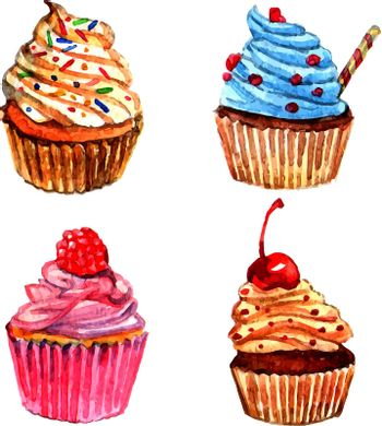 Watercolor cupcakes icons set