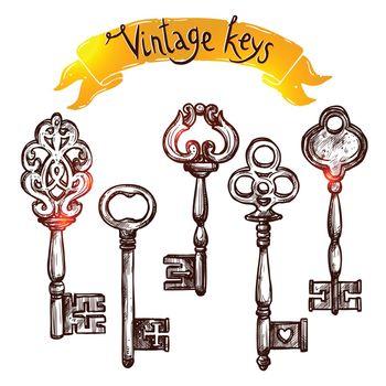 Vintage Sketch Keys