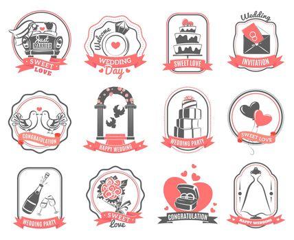 Wedding marriage engagement emblems outline set