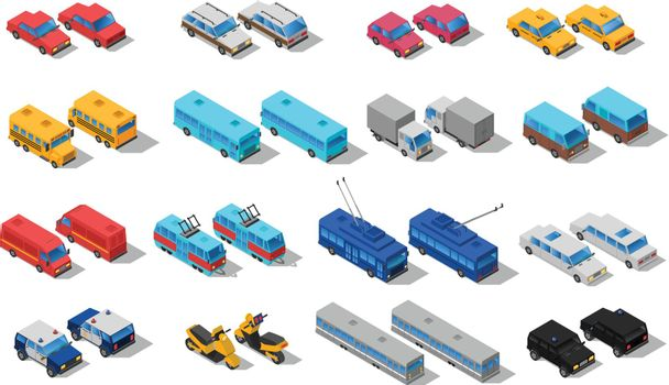 City Transport Isometric Icons Set