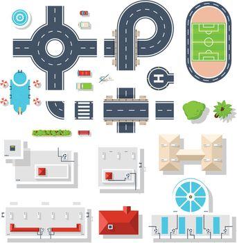 City Element Top View Set