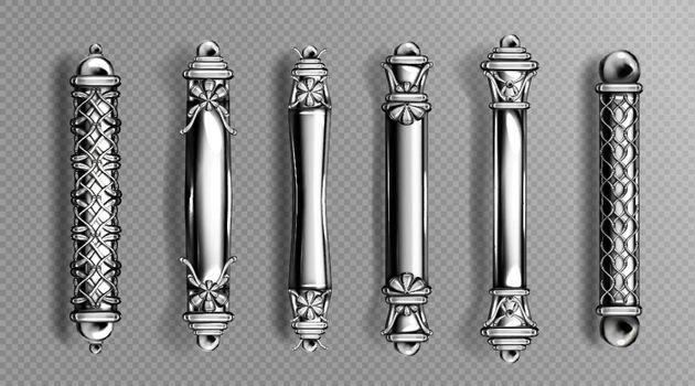 Silver door handles in baroque style classic knobs