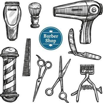 Barber Shop Set Doodle Sketch Icons