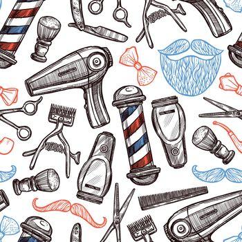 Barber Shop Attributes Doodle Seamless Pattern