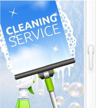 Window cleaning illustration