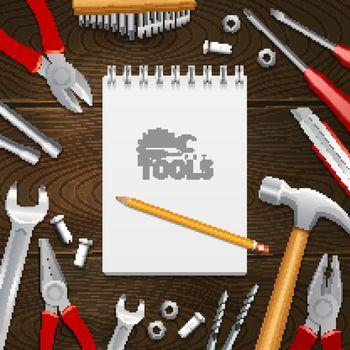 Carpenter Construction Tools Flat Composition Background