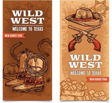 Cawboy Wild West Vertical Banners