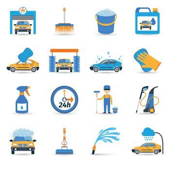 Car wash service icons set