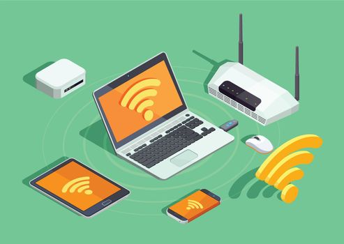 Wireless Technology Electronic Devices Isometric Poster
