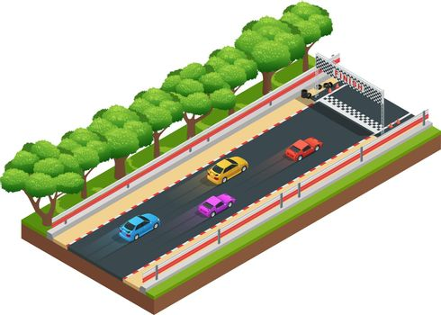 Gaming Speedway Isometric Composition